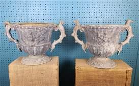 RARE Pair of 18th C Lead Garden Urns