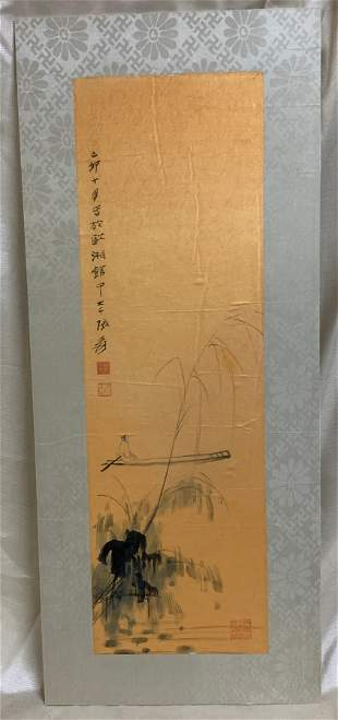 Zhang DaQian Painting of Old Man in Boat Signed and