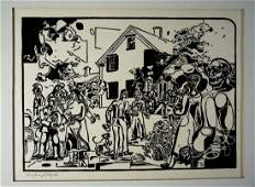"Fiske Boyd 1942 ""Visitors II"" Signed & Numbered Woodcut"