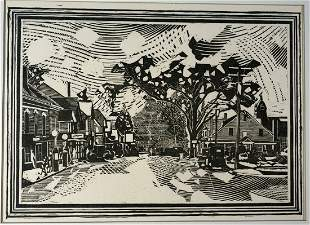 "Fiske Boyd ""Washingtonville"" Woodcut 1928"