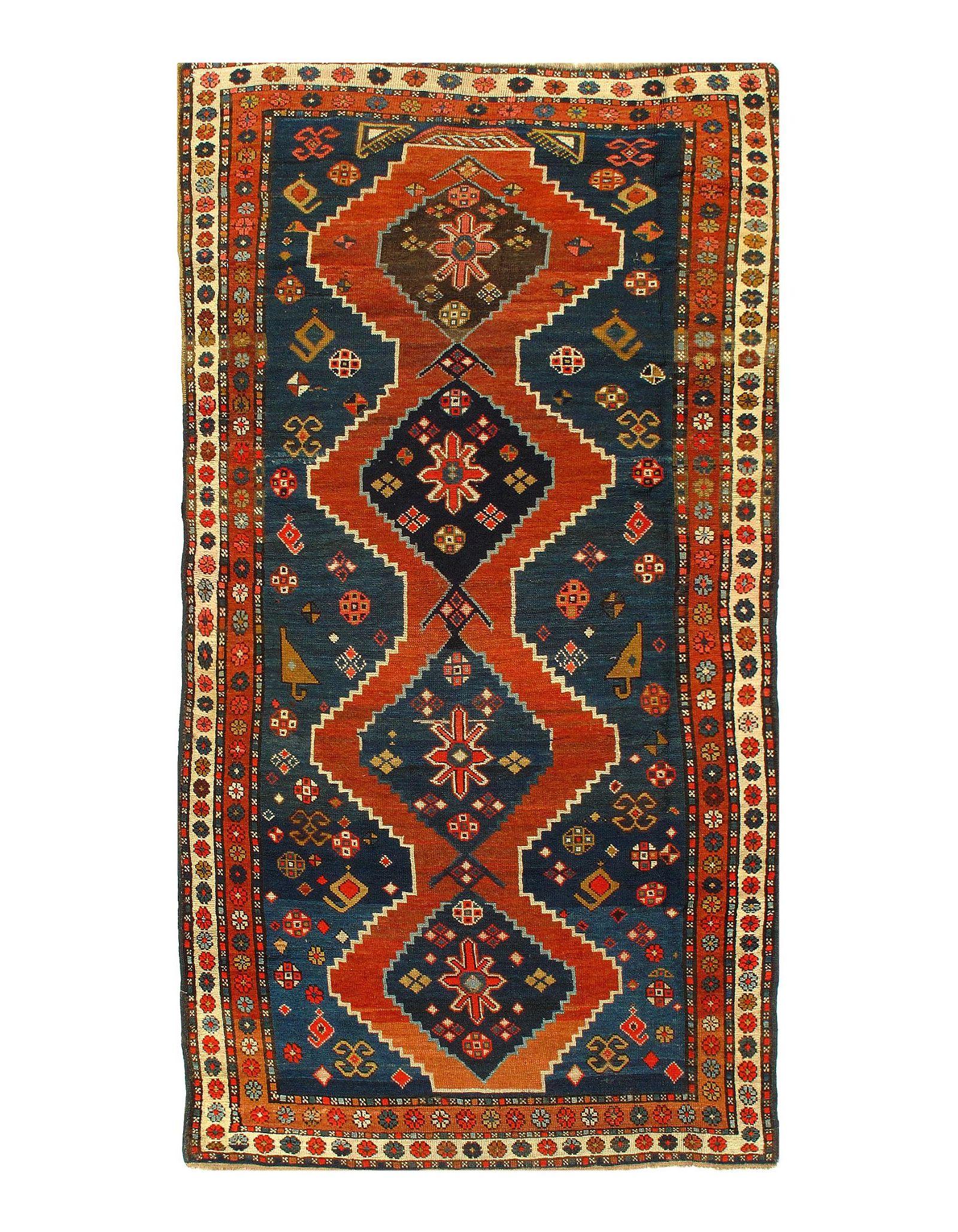 """Antique Turkish Kazak, Size 3'8"""" x 7'6"""""""