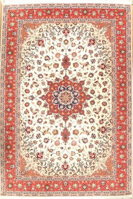 "Fine Persian Tabriz Silk & Wool 6'7"" X 9'10"""