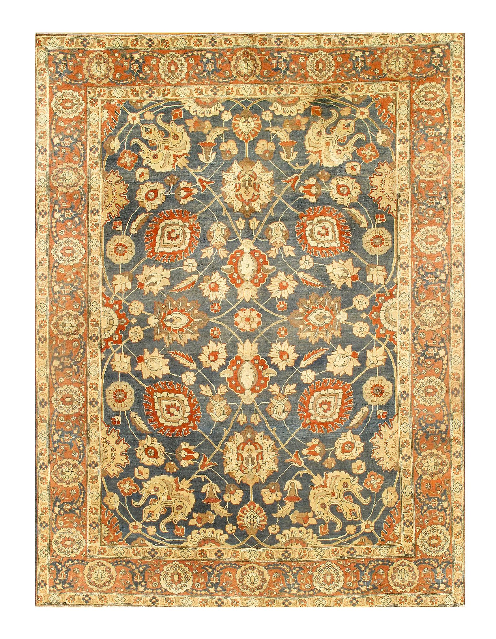"Antique Persian Tabriz,  9'3"" X 12'8"""