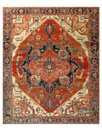 Rust Persian Hand Knotted fine Antique Serapi Rug 10' X
