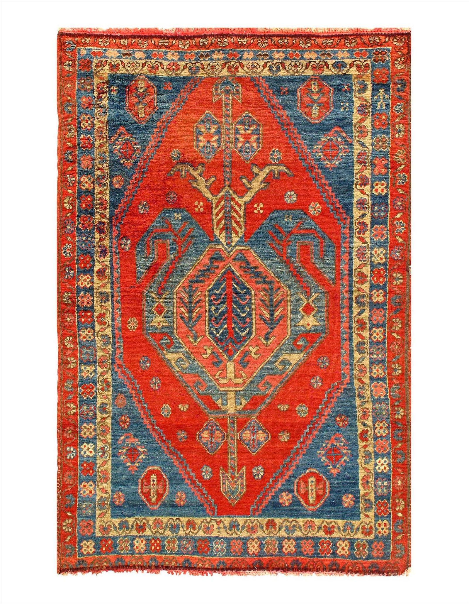 Red color Fine Antique Caucasian Kazak Rug 3'7'' X