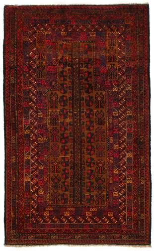 Red Afghan Baluch Wool Rug 3 X 5'