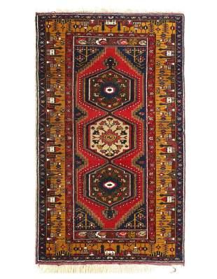 Red Color Fine Vintage Turkish Rug 3'7'' X 5'11''