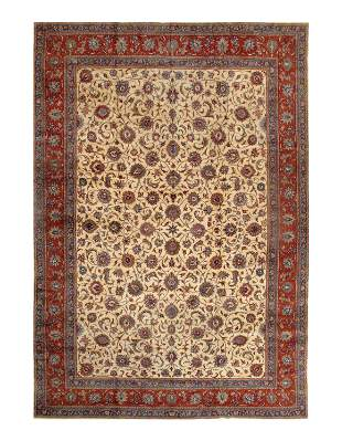 Ivory Fine Persian Sarouk Rug 13'6'' X 19'1''