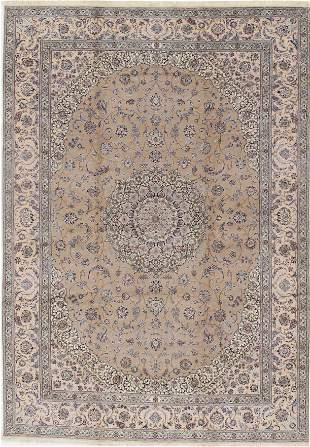 "Beige Persian Nain silk & wool 6 LA 9'11""x13'11"""