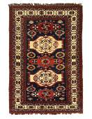 Navy Blue Antique Caucasian kazak rug 4'3'' x 6'4''