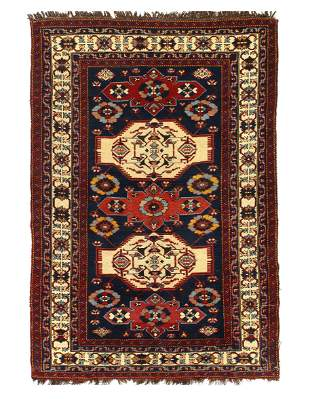 Navy Blue Antique Caucasian kazak rug 4'3'' x 6'4''