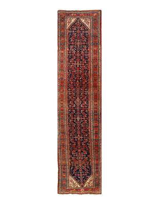 Navy Blue Persian Antique Bidjar Runner 4' x 17''