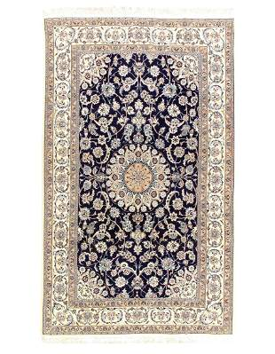 Navy Persian Nain silk & wool 6'6'' x 10'6''