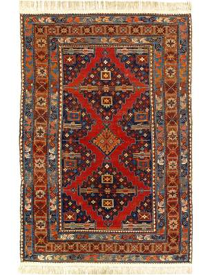 Red color Antique Caucasian Russian Kazak Rug 4'5'' x