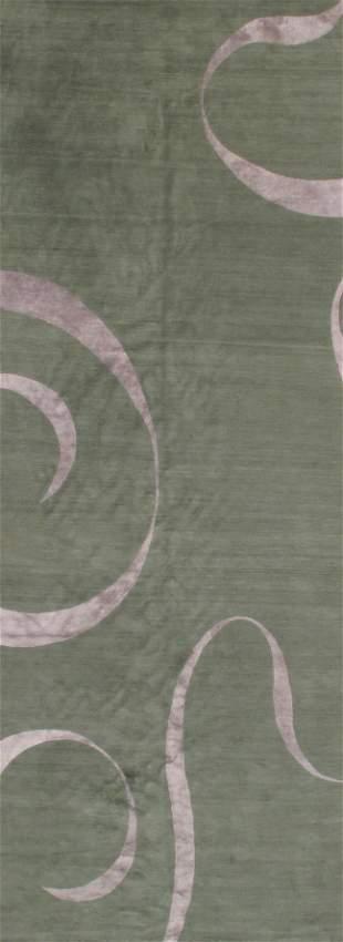 Green Nepali runner silk & wool 5'.6'' x 14'.6''