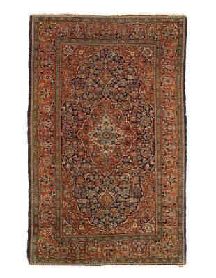 Navy Blue Fine Persian Antique Kashan 4' X 6'11''