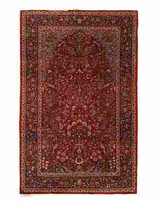 Red Fine Persian Antique Kashan 4'5'' X 6'11''