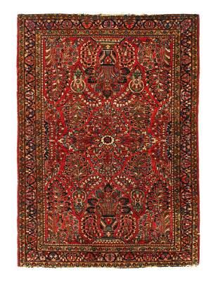 Red Fine Persian Antique sarouk 3'4'' X 4'9''