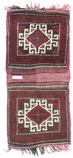 "Semi-Antique Persian Shiraz Saddle Bag Rug - 1'5"" X"