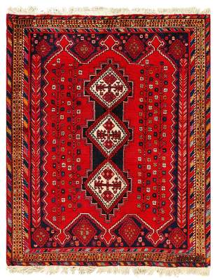 Red Persian Afshar Rug 5' X 6'.2''
