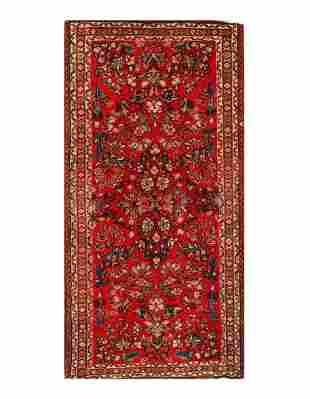 "Antique Persian Sarouk Rug - 2'1"" x 4'2"""