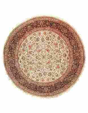 Ivory Fine Persian Kashan Design rug 8' X 8'
