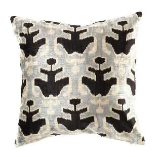 Turkish Black & Gray velvet Silk Ikat pillow 20''