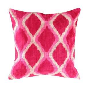 Turkish Rose colors velvet Silk Ikat pillow 20''