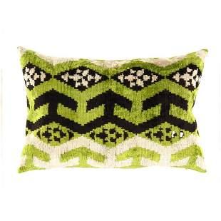 Turkish velvet Silk Ikat pillow 16'' X 24''