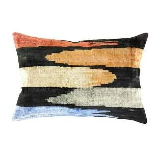 Turkish Multi velvet Silk Ikat pillow 16'' X 24''