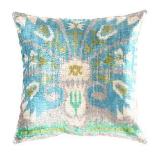 Turkish L blue Velvet Silk Ikat pillow 20''