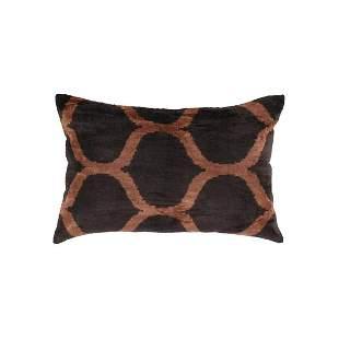 TI 310 Brown Designer Velvet Ikat Pillow
