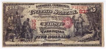 1865 $5 National Currency, FNB Tamaqua PA