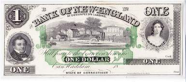 1850s Bank of New England $1 Bank Note East Haddam, CT