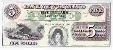 1850s $5 Broken Bank Note, Goodspeed's Landing, CT CU