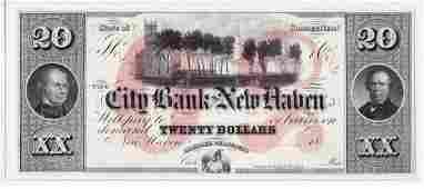 $20 Broken Bank Note, City Bank of New Haven, CT, CU