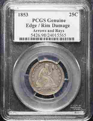 1853 Liberty Seated Quarter Arrows & Rays PCGS Genuine