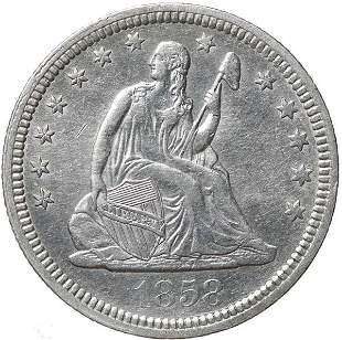 1858 Liberty Seated Quarter Dollar