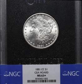 1881-CC Morgan Dollar. GSA NGC MS-63+