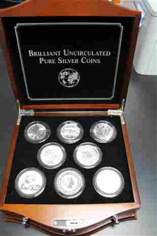 Silver Coins of the World in Wood Display Case