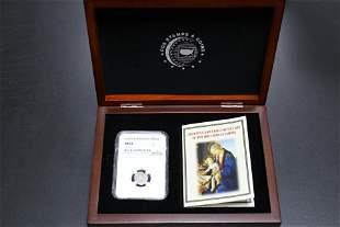 Hungary 1549 KB Denar NGC MS-61 in Wood Display Case