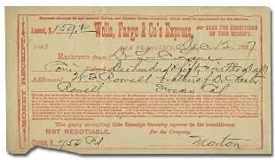 Wells, Fargo & Co. Express 2 Receipts 1870 and 1887