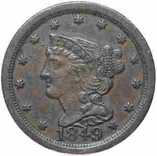1849 Coronet Head 1/2c. Lg Date