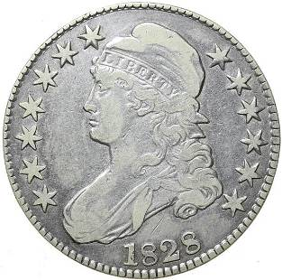 1828 Bust 50c. Sq Base 2, Sm 8's, Lg Letters