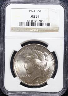 1924 Peace $1 NGC MS-64