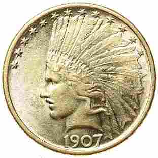 1907 $10 Gold Indian. No Periods