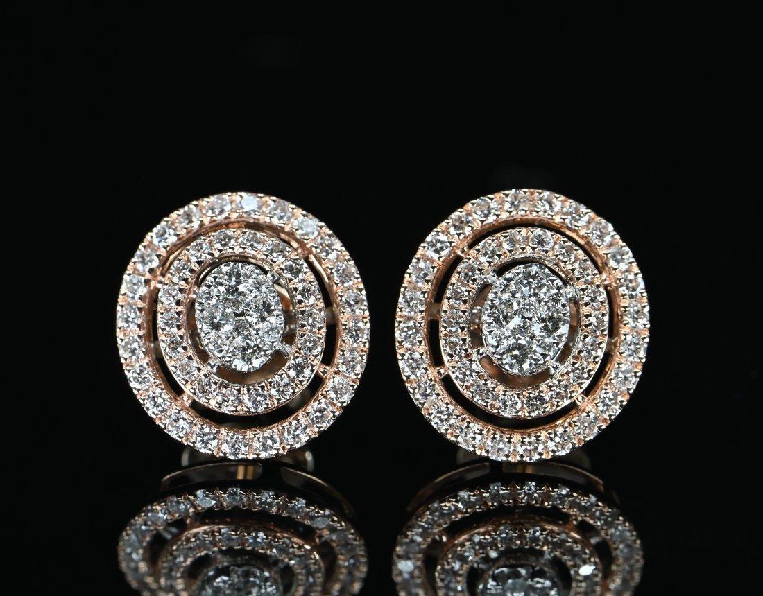 1.2 CTW Certified Diamond 14k Rose Gold Halo Earrings