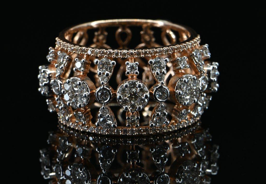 1.15 CTW Certified Diamond Designer Ring 14k Rose Gold