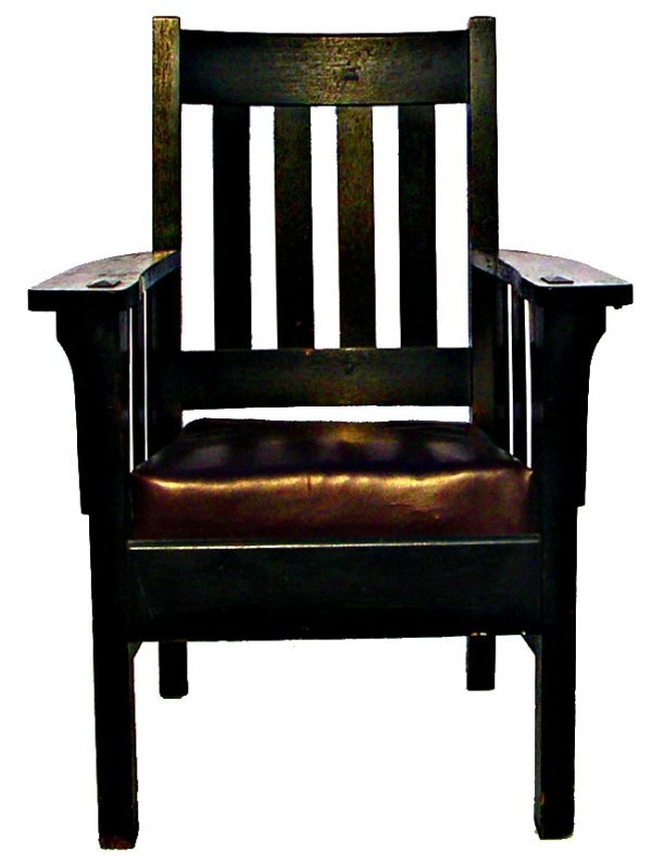 2: Mission arm chair by Harden with paper label