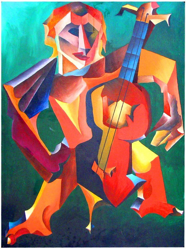9: o/c cubist painting of Jazzman signed D.P. Beers